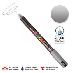 Marqueur Posca pointe calibrée, baguée de métal - Trait extra fin 0.7 mm - Argent