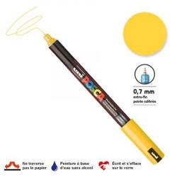Marqueur Posca pointe calibrée, baguée de métal - Trait extra fin 0.7 mm - Jaune