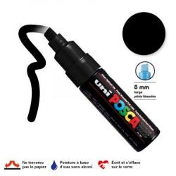 Marqueur Posca pointe biseautée - Trait large 8 mm - Noir