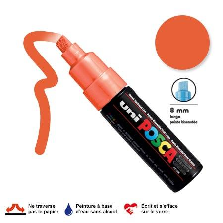 Marqueur Posca pointe biseautée - Trait large 8 mm - Orange foncé
