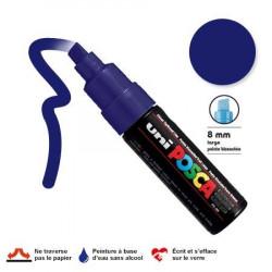 Marqueur Posca pointe biseautée - Trait large 8 mm - Bleu foncé