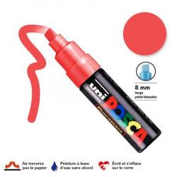 Marqueur Posca pointe biseautée - Trait large 8 mm - Rouge fluorescent