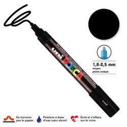 Marqueur Posca pointe conique - Trait moyen 2,5 mm - Noir