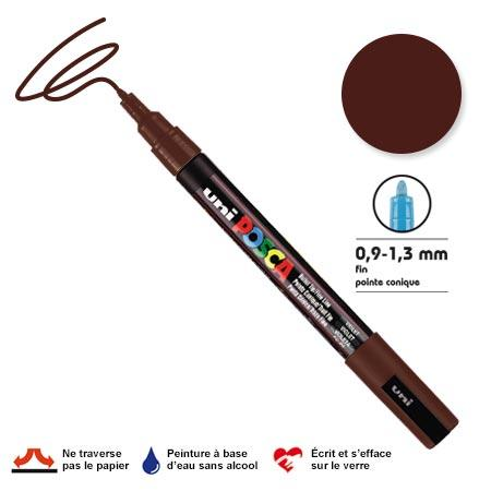 Marqueur Posca pointe conique - Trait fin 0,9-1,5 mm - Marron