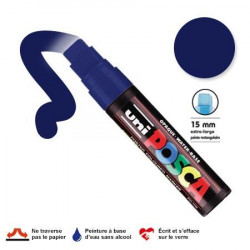 Marqueur Posca pointe biseautée - Trait extra large 15 mm - Bleu foncé