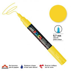 Marqueur Posca pointe conique - Trait extra fin 0.7-1 mm - Jaune