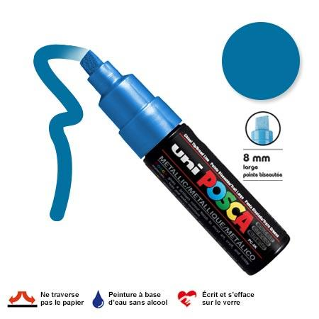 Marqueur Posca pointe biseautée - Trait large 8 mm - Bleu métallique