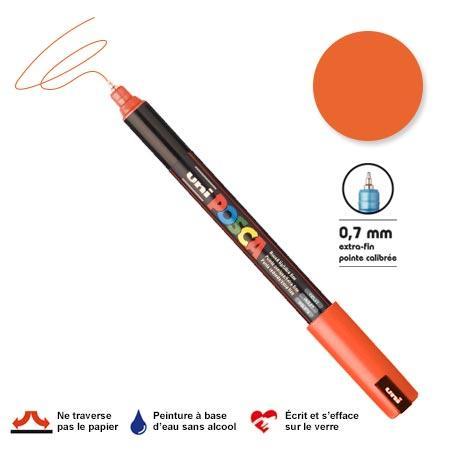 Marqueur Posca pointe calibrée, baguée de métal - Trait extra fin 0.7 mm - Orange foncé