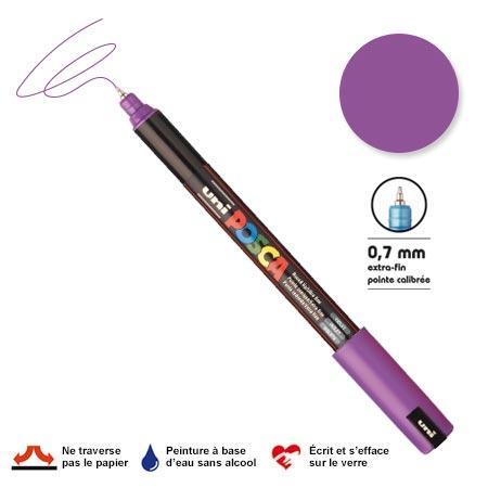 Marqueur Posca pointe calibrée, baguée de métal - Trait extra fin 0.7 mm - Violet