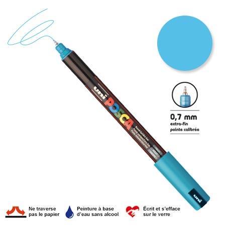 Marqueur Posca pointe calibrée, baguée de métal - Trait extra fin 0.7 mm - Bleu clair