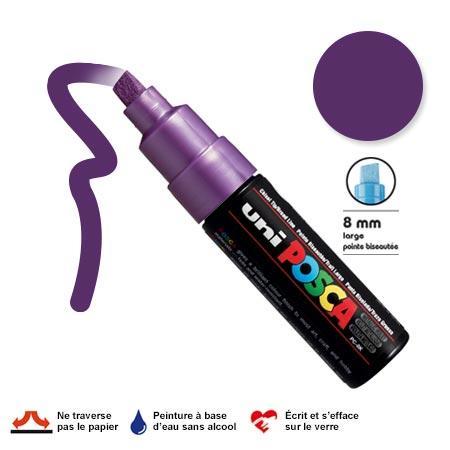 Marqueur Posca pointe biseautée - Trait large 8 mm - Violet