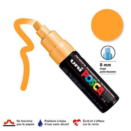 Marqueur Posca pointe biseautée - Trait large 8 mm - Orange