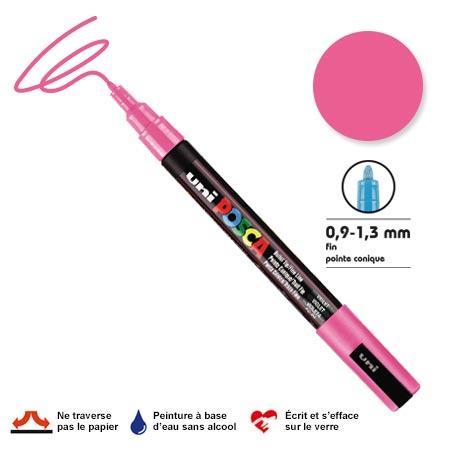 Marqueur Posca pointe conique - Trait fin 0,9-1,5 mm - Rose