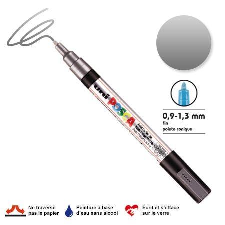 Marqueur Posca pointe conique - Trait fin 0,9-1,5 mm - Argent