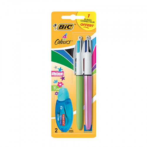 Lot de 2 stylos 4 couleurs Shine avec ruban correcteur