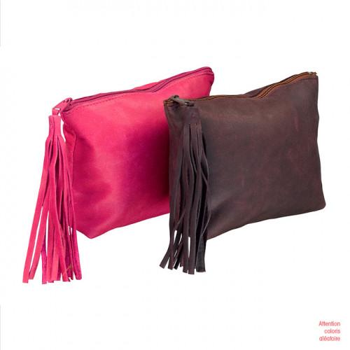 Trousse cuir Vintage teinté pompon 17 x 14 x 1 cm