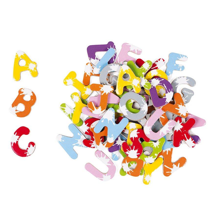 Lettres en bois magnétiques Splash - 52 pcs