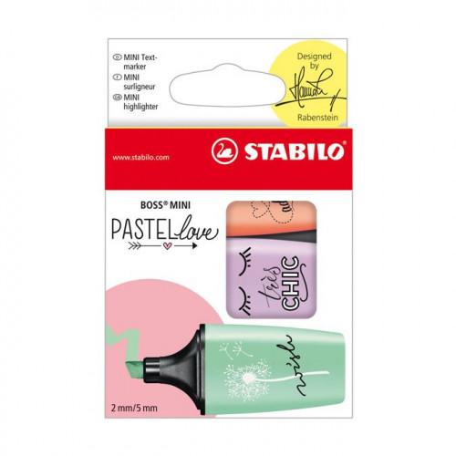 3 surligneurs Boss Mini Pastel Love - Menthe, lilas, pêche