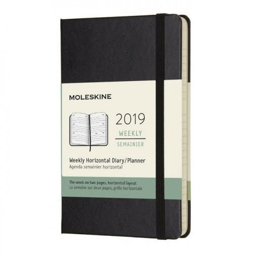 Agenda semainier 2019 horizontal - couverture rigide noire - 9 x 14 cm