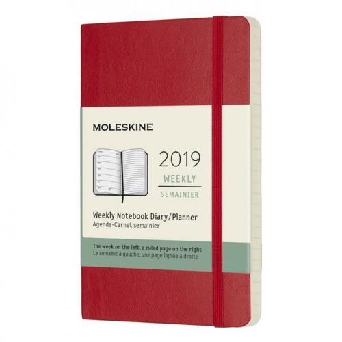 Agenda semainier 2019 - couverture souple rouge - 13 x 21 cm