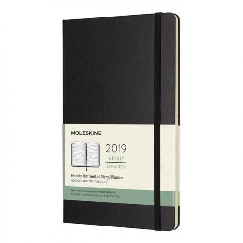 Agenda semainier 2019 horizontal - couverture rigide noire - 13 x 21 cm