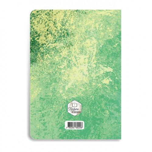 Carnet de dessins vert - 48 pages blanches  - A7