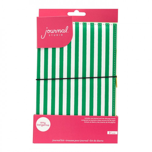 Kit Journal Studio Rayures vertes et blanches - 14,5 x 22 cm