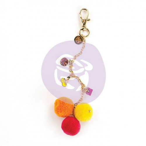 Breloque pour Planner - Fuschia Cherry Pom Pom Key Chain