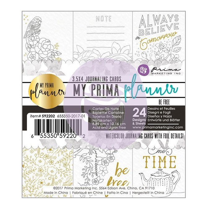 Cartes pour Planner - à colorier - Be free - 24 pcs