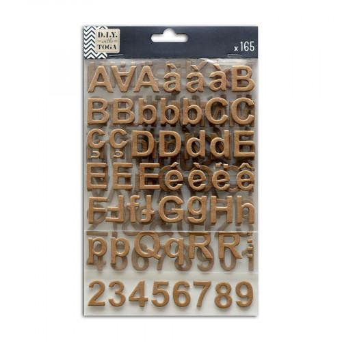 Alphabet Stickers - Chipboard - kraft - 165 pces