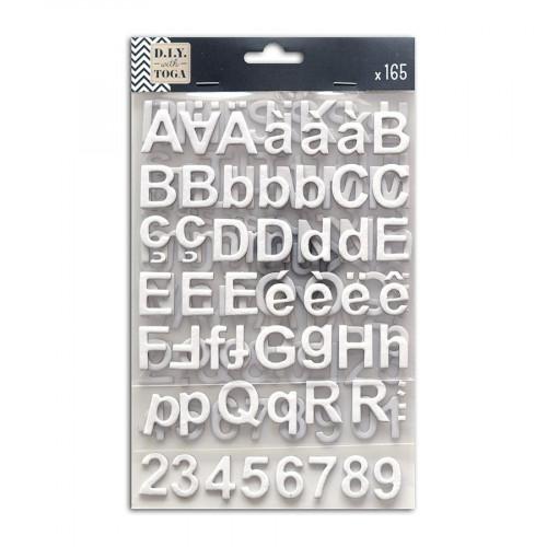 Alphabet Stickers - Chipboard - blanc - 165 pces
