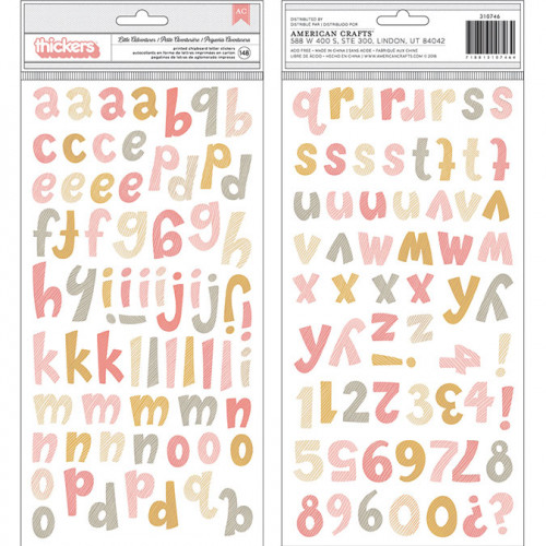 Alphabet Stickers en chipboard - 148 pcs (rose)