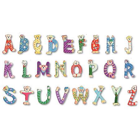 Alphabet en bois décoré - Majuscules