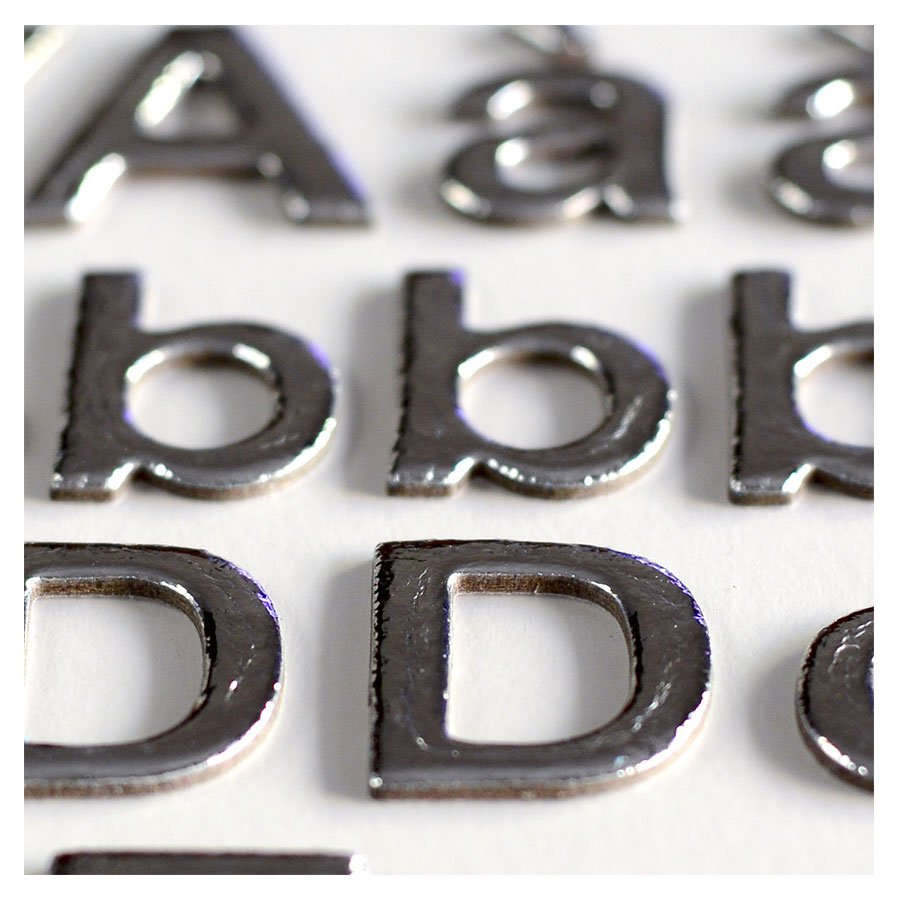 Alphabet Stickers - Chipboard - argent - 165 pces
