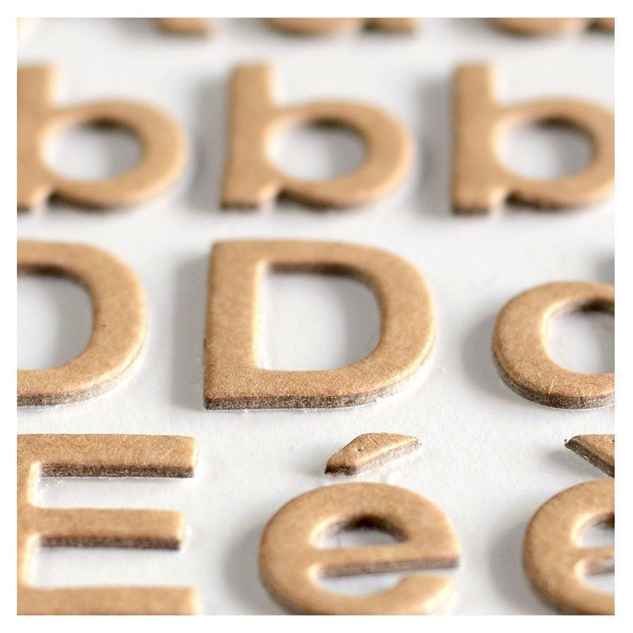 Alphabet Stickers - Chipboard - kraft - 165 pces