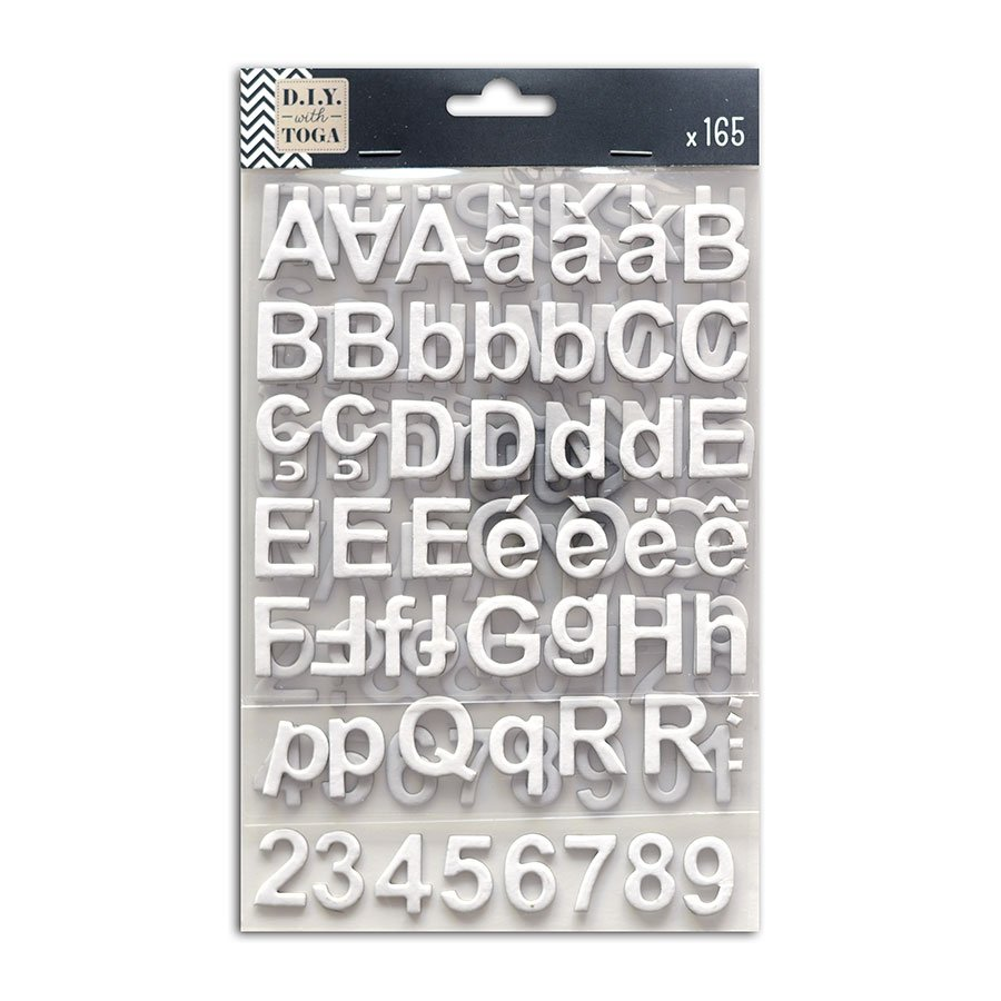 Alphabet Stickers - Chipboard - blanc - 165 pces