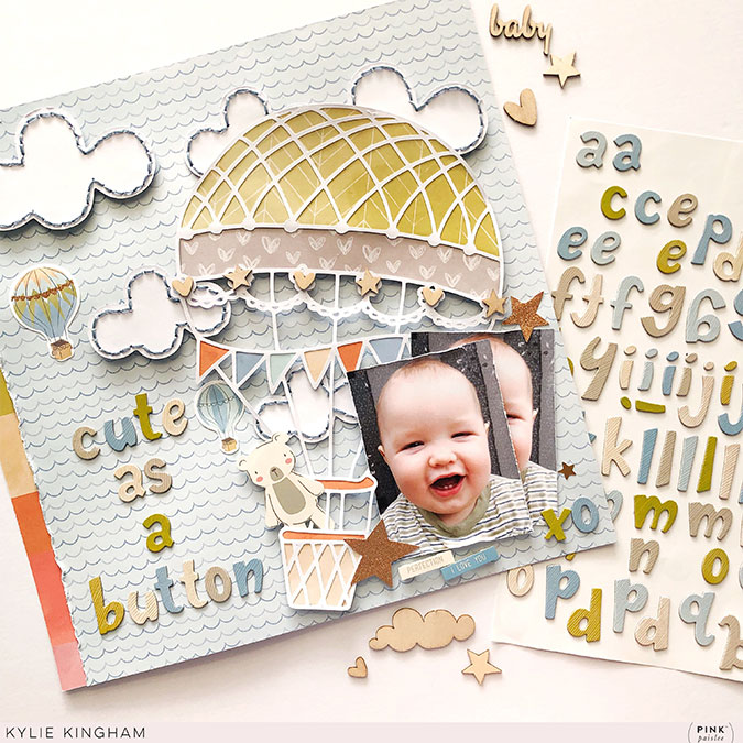 Alphabet Stickers en chipboard - 148 pcs (bleu)
