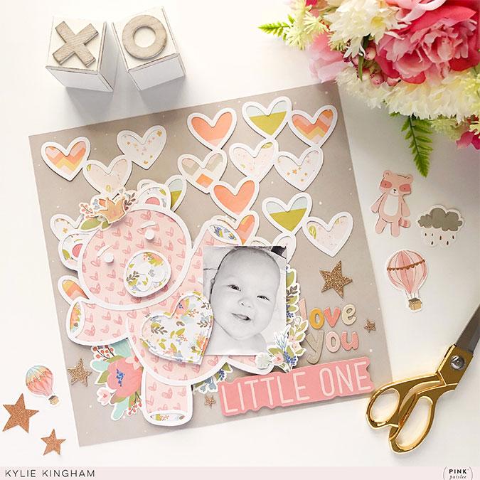 Alphabet Stickers en chipboard - 148 pcs (rose)