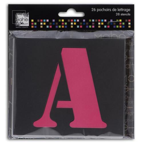 Set de 26 pochoirs lettres - 9 cm