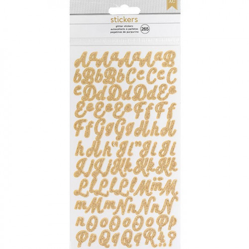 Alphabet Stickers - manuscrit / pailleté or - 265 pcs