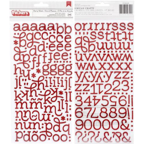 Alphabet Stickers en mousse pailletée rouge - 249 pcs