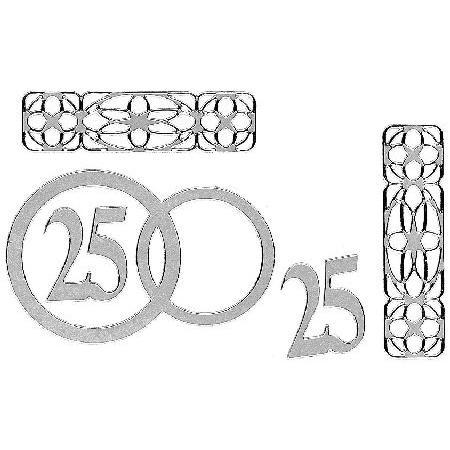 Motif adhésif - Chiffre 25 motifs différents argent
