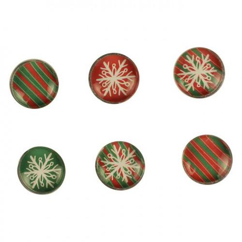 Aimants en verre - Noël - 1,8 cm - 6 pcs