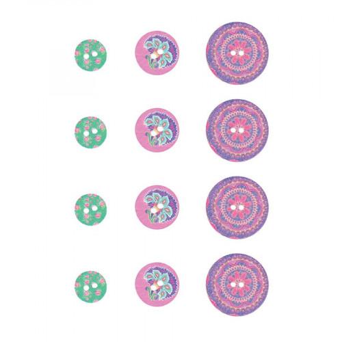 Flower Power - Boutons bois imprimé - 12 pcs