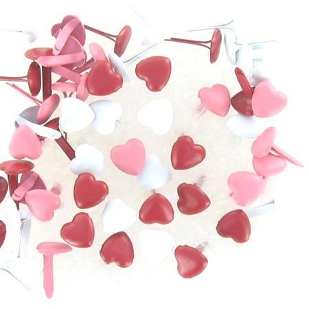 Attaches parisiennes - Coeurs mini - Rouge & rose