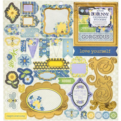 Bee-utiful You Chipboard Stickers - 40 pcs