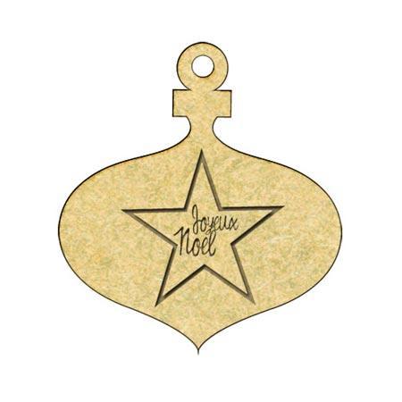 Sujet en bois médium - Boule étoile joyeux Noël - 4,7 x 4,4 cm