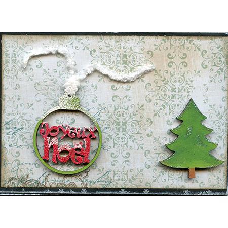Sujet en bois médium - Boule Joyeux Noël découpée - 5,5*4,3 cm