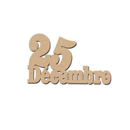 Mot en bois médium - 25 Décembre - 5,5 x 3,2 cm