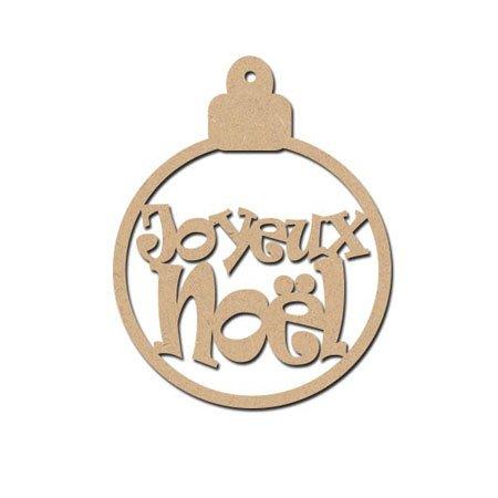 Sujet en bois médium - Boule Joyeux Noël - 9,5 x 7,5 cm